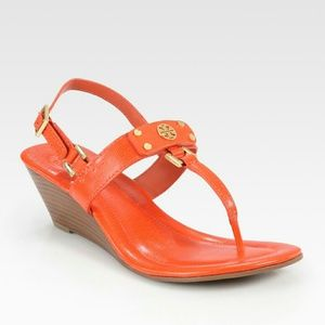 TORY BURCH LEATHER SANDALS ORANGE 7.5